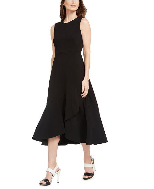 Calvin Klein Draped-Skirt A-Line Dress