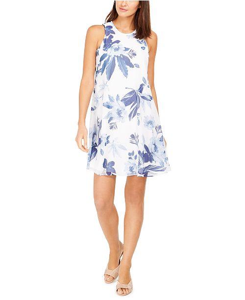 Calvin Klein Floral-Print Trapeze Dress