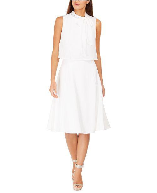Calvin Klein Tie-Neck Chiffon Popover Dress
