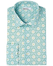 Men's Slim-Fit Performance Stretch Retro Daisy-Print Dress Shirt, Created for Macy's