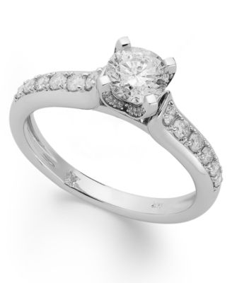 Diamond Engagement Ring in 14k White Gold or 14k Gold 1 ct tw