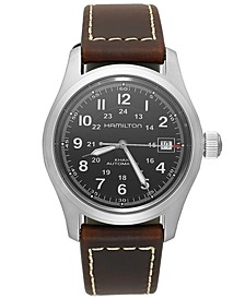 Men's Swiss Automatic Khaki Field Brown Leather Strap Watch 38mm H70455533
