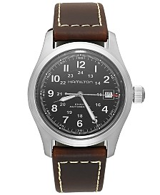 Hamilton Men's Swiss Automatic Khaki Field Brown Leather Strap Watch 38mm H70455533