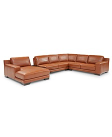 Darrium 5-Pc. Leather Chaise Sectional with Console, Created for Macy's