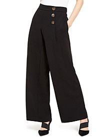 Button-Detail Wide-Leg Pull-On Pants, Created For Macy's