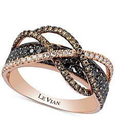 Exotics® Diamond Crossover Statement Ring (1-1/10 ct. t.w.) in 14k Rose Gold