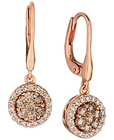 Champagne® Diamond Halo Dangle Drop Earrings (3/4 ct. t.w.) in 14k Rose Gold