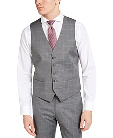 Men's Portfolio Slim-Fit Stretch Gray Windowpane Suit Vest