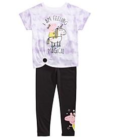 Toddler Girls 2-Pc. Feeling Magical Unicorn Tie-Dye T-Shirt & Leggings Set