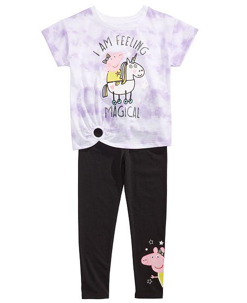Peppa Pig Little Girls 2-Pc. Feeling Magical Unicorn T-Shirt & Leggings Set