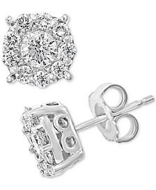 EFFY® Diamond Halo Stud Earrings (7/8 ct. t.w.) in 14k White Gold