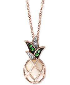 "EFFY® Opal (1-1/2 ct. t.w.), Tsavorite (1/20 ct. t.w.) & Diamond Accent Pineapple 18"" Pendant Necklace in 14k Gold"