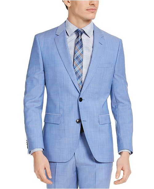 HUGO Hugo Boss Men's Classic-Fit Light Blue Solid Suit Jacket