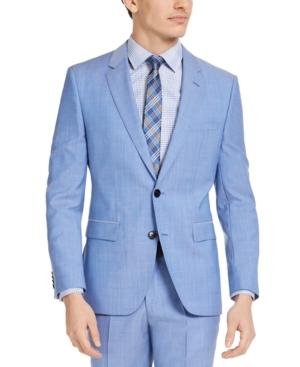 Hugo Men's Modern-Fit Light Blue Solid Suit Jacket