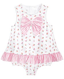 Baby Girls Cherry Bow Cotton Sunsuit, Created for Macy's