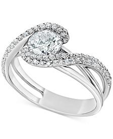 Diamond Swirl Engagement Ring (1-3/8 ct. t.w.) in 14k White Gold