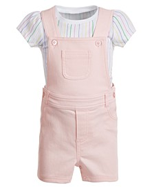 Baby Girls 2-Pc. Striped T-Shirt & Shortall Set, Created for Macy's