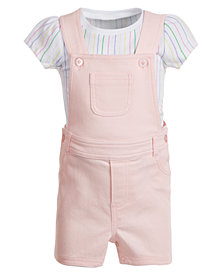 First Impressions Baby Girls 2-Pc. Striped T-Shirt & Shortall Set, Created for Macy's