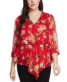 Plus Size Surplice Blooms Peplum Blouse