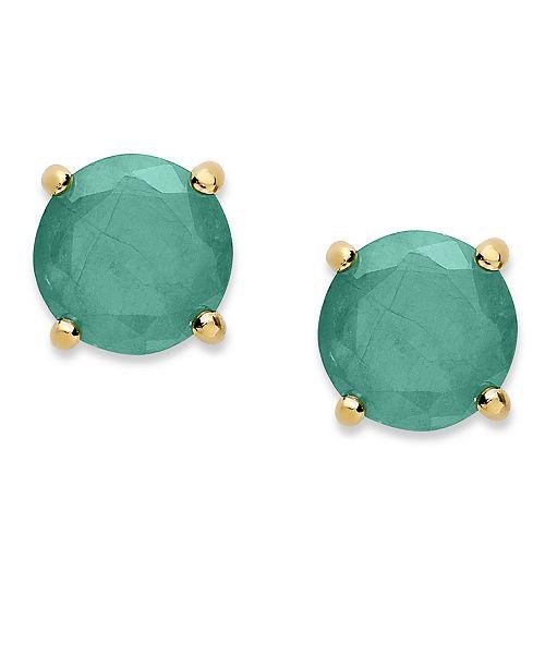 Macy's 18k Gold over Sterling Sterling Earrings, May's Birthstone Emerald Stud Earrings (1-1/2 ct. t.w.)