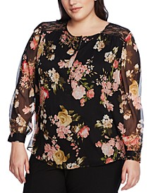 Plus Size Beautiful Blooms Lace-Trim Blouse