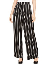 Petite Striped Pull-On Pants, Created For Macy's