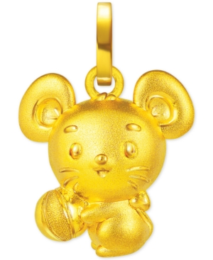 Rat Charm Pendant in 24K Gold