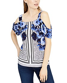 INC Petite Printed Cold-Shoulder Top, Created for Macy's
