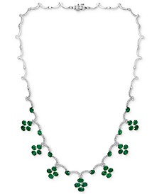 "EFFY® Emerald (12-1/3 ct. t.w.) & Diamond (1-1/2 ct. t.w.) 18"" Statement Necklace in 14k White Gold"