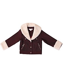 Toddler Girls Oversized Sherpa Collar Jacket