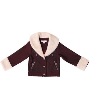 Kinderkind Big Girls Oversized Sherpa Collar Jacket