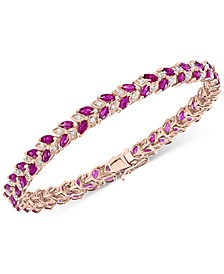 EFFY® Ruby (6-1/10 ct. t.w.) & Diamond (3/8 ct. t.w.) Tennis Bracelet in 14k Rose Gold