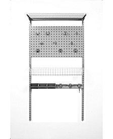 Storability Locboard Wall Mount Storage System with Locboard, Lochook Asst, Wire Shelf, Wire Basket, Hanging Bins Mounting Hardware