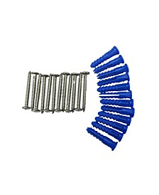 Locboard 12 Steel Screws 12 Plastic Wall Anchors for Mounting Steel Pegboard System