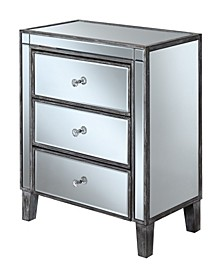 Gold Coast Large 3 Drawer Mirrored End Table