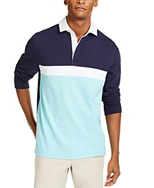 Men's Chest Stripe Long Sleeve Polo Shirt, Created for Macy's