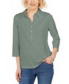Supima® Cotton 3/4-Sleeve Polo, Created For Macy's