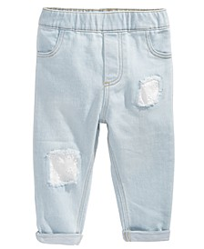 Baby Girls Light-Wash Eyelet-Patch Jeans, Created for Macy's