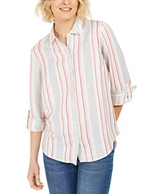 Petite Striped Tab-Sleeve Shirt, Created for Macy's