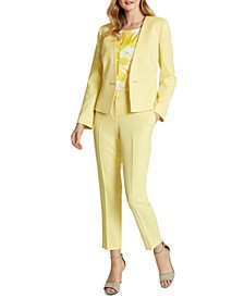 Snap-Front Collarless Twill Blazer,  Floral-Print Ruffle-Sleeve Top & Twill Slim-Leg Pants