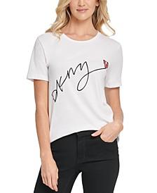Glitter Sequined-Heart Logo T-Shirt