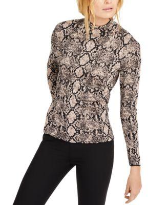 INC Snake-Embossed Mock-Neck Sweater, Created for Macy's