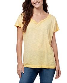 Split-Neck Raglan-Sleeve T-Shirt