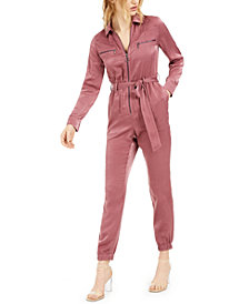 Bar III Belted Zippered Jumpsuit, Created for Macy's