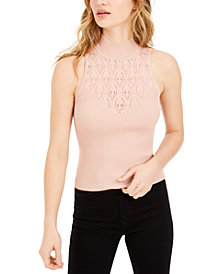 Bar III Pointelle Mock-Neck Sleeveless Sweater, Created for Macy's