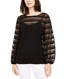 Petite Sheer-Stripe Balloon-Sleeve Top, Created for Macy's