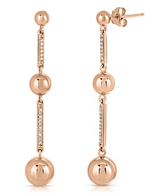 Brilliant Bubbles Diamond 1/10 ct. t.w. 3 Bubble Drop Earring Designed in 14k Rose Gold over Sterling Silver