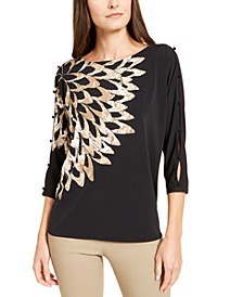 Printed Button-Sleeve Top, Created For Macy's