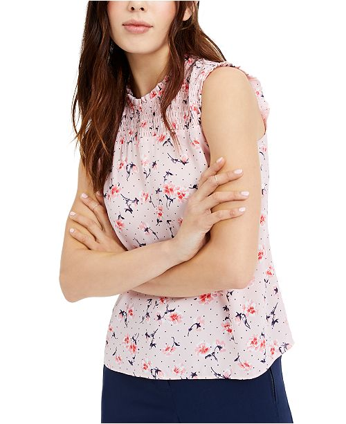 Maison Jules Floral-Print Smocked Sleeveless Woven Top, Created for Macy's
