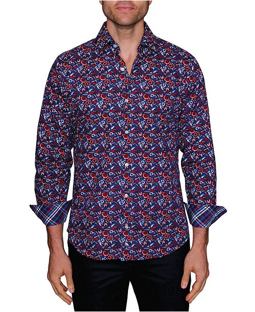TailorByrd Men's Big and Tall Paisley Floral Button-Down Shirt